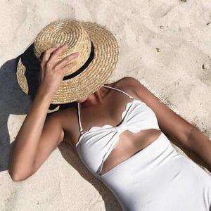 MARYSIA Antibes Swimsuit White Scallop Cutout